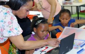 A facilitator working with Chantel