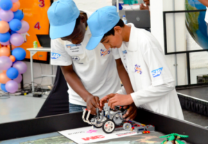 Matshaya and friend at a Robotics competition