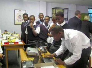 Eric (in the white shirt) in 2009 whilst at school