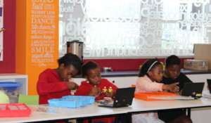 Children from the Thope Foundation at a workshop