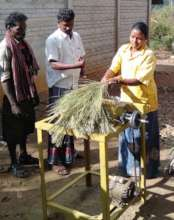A tribe woman getting training in MFP Process