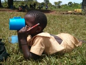 A girl having her porridge at lunch time