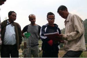 Participants practice rainfall data recording