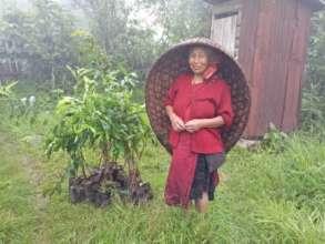 Self-Help Group member and her peach tree saplings
