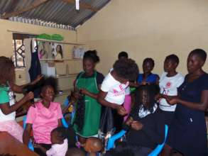 Hairdressing class in progress at the GEC