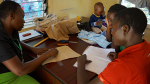 Beneficiaries learning garment designing