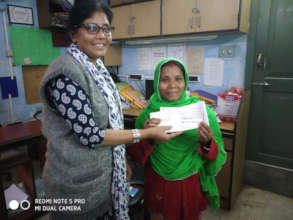 Beneficiary receives a loan cheque