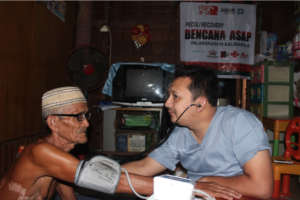 Lohek, 87 years old, getting his medical checkup