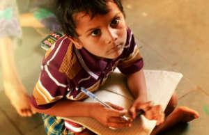 A child learning Basic English