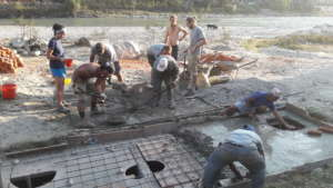 The septic tank's concrete lid is poured