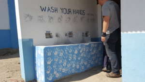 The steps of hand-washing and the kids handprints