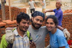 International volunteers and community members