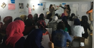 Teaching the menstrual cycle to girls in Akkar
