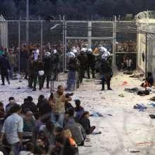 Registration Point for Refugees in Lesvos, Greece