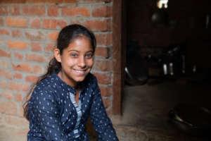 Muskan at her house in Sitapur, Uttar Pradesh