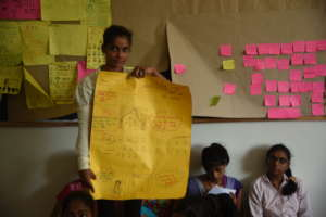 Rukhsar presenting her plan for community project