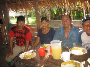 Villagers having breakfast before heading out