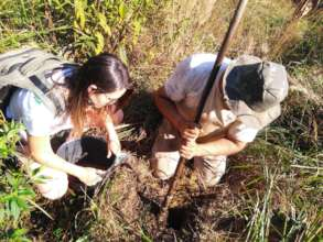 Soil collection with producer Joao