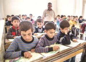 Syrian refugee children in school