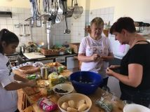 Preparing food that was saved by the Tafel