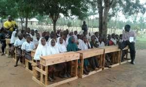 Schooldesks for school at Samburu