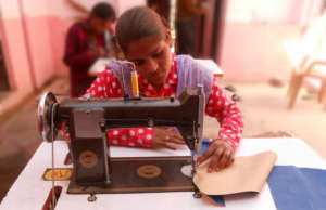 One of the Girl trainees in Bag Making Training