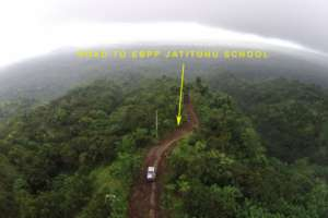 Aerial view of the road leading to Jatituhu Hamlet