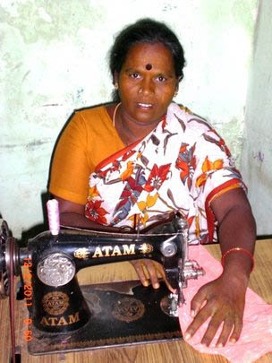 sewing machines to 10 poor women to earn income