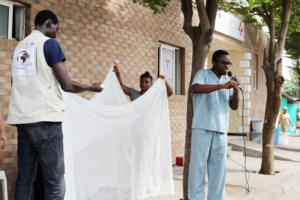 Malaria education and net demonstration