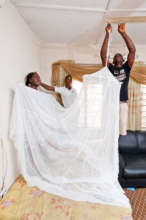 Mosquito bed net demonstration