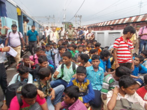 Rescued children arriving at Gaya Junction