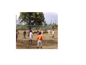 Juhudi girls participate in a game of volleyball