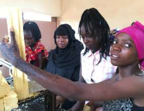 Making soap at the second center in Bamako