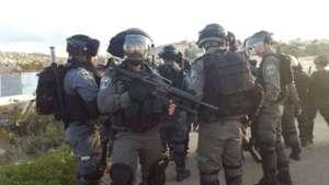 Riot police at Ar'ara protest, 21 January 2017
