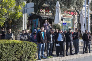 Police watch student protest in Haifa, 24 Jan 2017