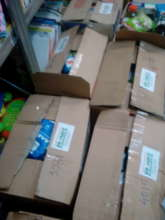 Preparing emergency relief packages for refugees
