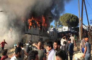 REFUGEE SAMOS CAMP DAMAGED FROM FIRES