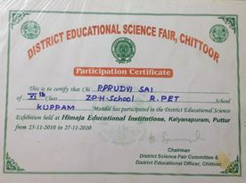 Participation Certificate of Science Fair
