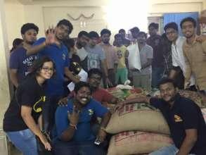 Bhumi volunteers with relief materials