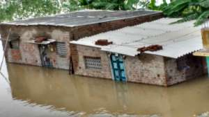 Houses submerged in flood waters in Chennai