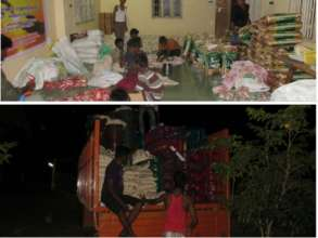 Relief goods packed and transported