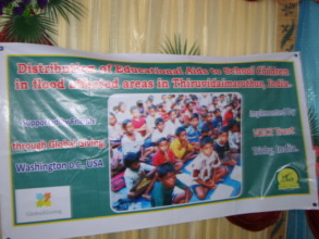 Banner of Education aids to Cuddalore Children