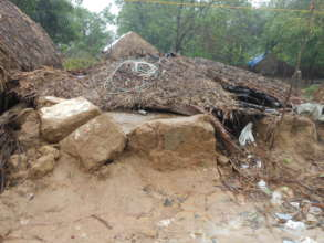 Thatched houses devastated by floods