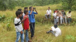 students with binocular