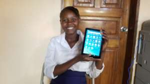 Mariama with her new kindle