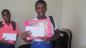 Bintu received a scholarship