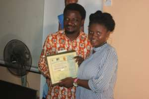 Fatmata received her certificate of completion