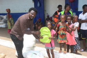 Providing school supplies to fire victims