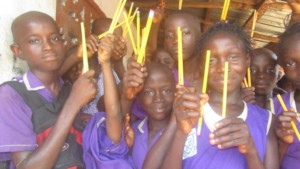 Kids with pencils Africa classroom