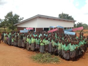 Pupils at Kiteghe celebrate their new toilets
